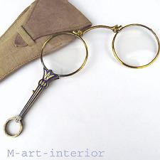 Antike Lorgnon Lorgnette vergoldet Emaille Klappbrille in Etui Art Déco um 1920