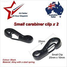 2 x Very Small Black Alloy Carabiner Hook para cord clip clips car keys paracord