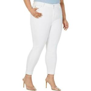Celebrity Pink Optic White Denim High Rise Crop Jeans Pants Plus Size NEW