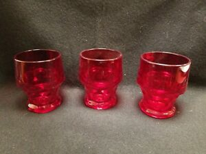 "Anchor Hocking Georgian Honeycomb Royal Ruby Red Glass Tumblers 3 1/4"" (3)"
