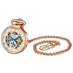 Stuhrling Men's Pocket Watch Skeleton Dial Dual Time AM/PM Auto and Wind movmnt