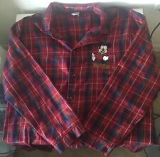 Disney Store Men's Red Plaid Mickey Mouse Embroidered Pajama Top Size M
