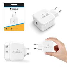 2 USB Adattatore Anukku 24W 5V 2V Presa Spina Muro Parete Carica Batteria
