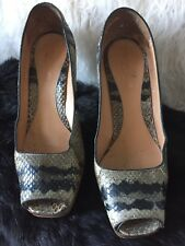 Fab Pair Leather Snakeskin Sandals/shoes/heels Size 37 By Sergio Rossi