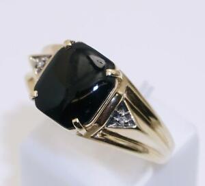 9carat 9k Yellow Gold Onyx And Diamond Set Signet Ring Size UK-U US-10 1/4