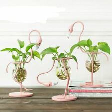 Pink Flamingo Shape Glass Tabletop Plant Flower Wedding Christmas Decorations