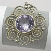 Vtg Antique Arts & Crafts 900 Silver Filigree Natural Amethyst Pendant