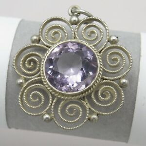 Vtg Antique Arts & Crafts 900 Silver Filigree Natural Amethyst Pendant