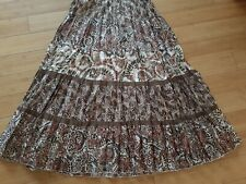 NWT $99 Chicos Silk rayon floral Skirt Pleated Tiered Size 2 (L) elastic waist