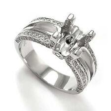 PAVE DIAMOND ENGAGEMENT RING SEMI-MOUNT 14K WHITE GOLD