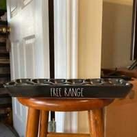 Rae Dunn FREE RANGE Black Ceramic 12 Egg Holder New