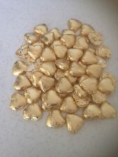 50 Gold  wrapped solid belgian chocolate hearts/wedding favours/sweets