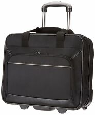 Black Travel Bag With Wheels Luggage Laptop Case Polyester Rolling Trolley S