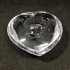ORREFORS SWEDEN Crystal Heart Votive Candle Holder Tea Light with Sticker