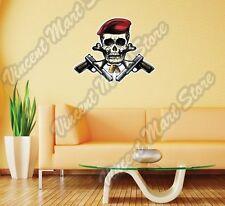 """Skull Crossbones Pistol Red Beret Army Wall Sticker Room Interior Decor 25""""X20"""""""