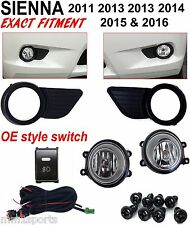 FOG LIGHT KIT FOR 2011-2016 TOYOTA SIENNA LAMPS HARNESS SWITCH BLACK BEZEL