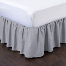 Silver Bed Skirts Ruffle Bedskirt Split Corner Easy Style Queen/King All Size