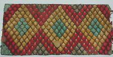 "Antique Nova Scotian Hooked Mat Geometric Fishscale Pattern 54"" X 25"""