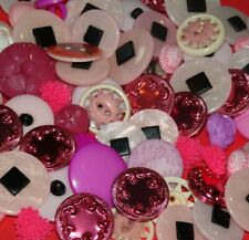 Lot Vintage New Pink Black White Buttons Shank Sew Through Heart Plastic Metal +