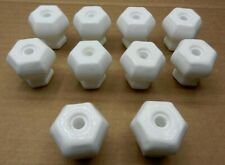 "10 Vintage Milk Glass Hexagonal Drawer Pull Handle Knobs 1 1/2"" x 1 5/16"""