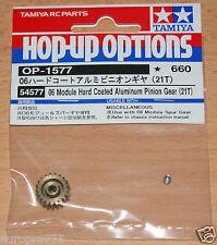 Tamiya 54577 06 Modulo Alluminio Rivestito duro Pignone (21T) (TT02/TT02B), Nuovo con imballo
