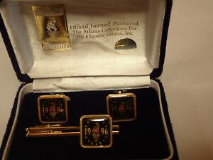 1996 ATLANTA OLYMPIC GAMES BEAUTIFUL TIE - PIN  CLIP & CUFFLINK SET ORIGINAL BOX