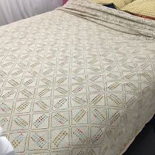 OH MY Stunning Crochet Embroidered Knitted BEDSPREAD Blanket VINTAGE Mint Cond