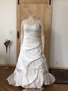 Davids White Cap Short Sleeve Bridal Gown Wedding Dress Plus Size 18W