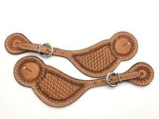 Spur Straps Matched Pair Basketweave Tooled Leather Western Fancy 2619-Ll