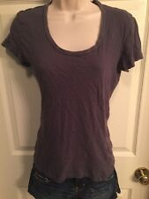 Women's Juniors Lilu Gray BlueShort Sleeve Top, Scoop Neck , Small