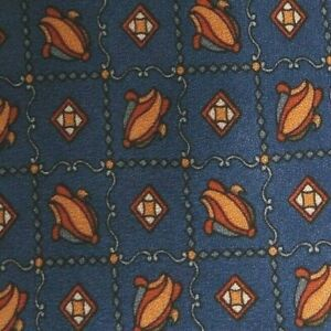 "Blue Orange Foulard Silk Tie Extra Long 61"""