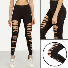Sexy Black Punk Ripped Torn Slashed Cut Striped Leggings Pants Gothic Club
