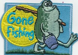 Girl Boy Cub GONE FISHING Fish Fun Patches Crests Badges SCOUT GUIDE tour Day