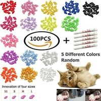 100 PCS Soft Pet Cat Nail Caps Cats Paws Grooming Nail Claws Caps Covers