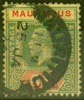 Mauritius 1922 5R on Pale Yellow SG203b Die II Good Used