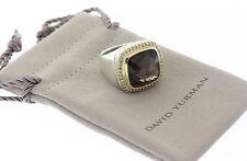 DAVID YURMAN Sterling & 18k Yellow Gold Smokey Quartz & Diamond Albion Ring Sz 7