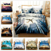 3D Flying Airplane Bedding Set Aircraft Duvet Cover Pillowcase Comforter Cover