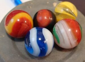 5 Vintage Marbles Akro Agate Corkscrews Played With Popeye Shooter Onyx Wasp