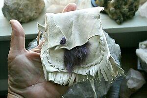 White Deer Leather Medicine Bag, Amethyst, Purple Rabbit Fur & Free White Sage!