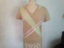 TOMMY HILFIGER Beige Ivory Pink Green Lambswool Blend Short Sleeve Sweater Sz M