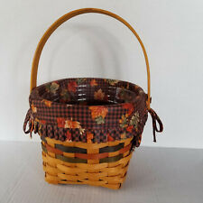 LONGABERGER 1996 Harvest / Fall Basket - 7.75in x 6.5in - Cloth & Plastic Liners