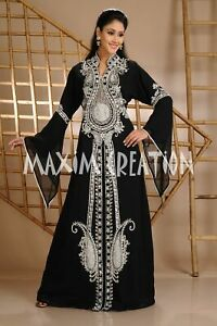 Prom Dress Moroccan Caftan Jellabiya Gown With Crystal Beads Hand Made Work 3632