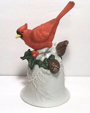 Vintage Ceramic Cardinal On Branch Bell With Clacker