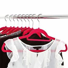 50pk Velvet Non-slip Flocked Adult Coat Clothes Trousers Hanging Hangers Pink