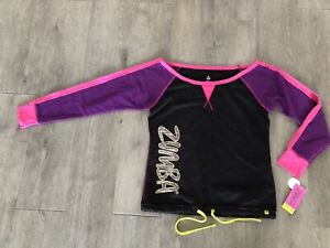 ZUMBA T-shirt Women's Size M Medium Long Sleeve Top NEW WITH TAGS Black