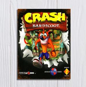 Metal Signs plaques vintage retro style Crash Bandicoot video gamer mancave
