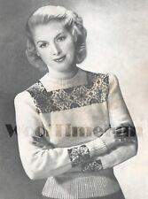 "Vintage Knitting Pattern 1940s Lady's Fair Isle Design Sweater/Jumper 37"" Bust"