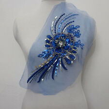 1Piece Embroidered Tulle Sequins Acrylic 3D Floral Applique Sew On Wedding Dress