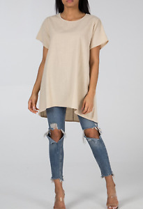 Summer Cotton Tunic Top Dress with Pockets Stone  or Khaki SZ 8-12 BNWT
