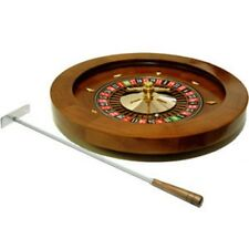 "16"" Deluxe Quality Solid Real Wooden Roulette Wheel Game Roulete Spinning"